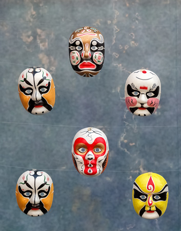 Chinese Opera Masks, Collection of  Chinese traditional opera facial painting Stock Photo