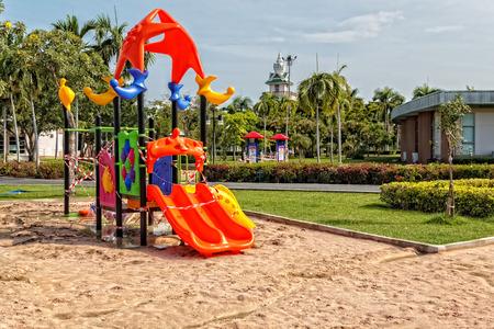 Under Construction Children Playground in Public Park Editorial