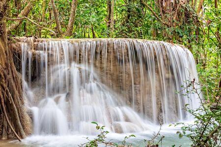 Deep Forest Waterfall in Kanchanaburi Province, Thailand