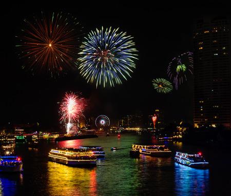 chao phraya: Fireworks Celebration on Chao Phraya River, Bangkok, Thailand