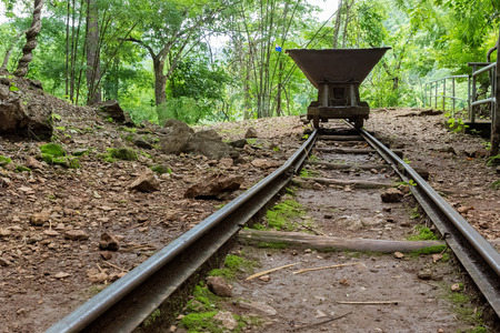 hellfire: Old Rail Cart in Hellfire Pass that was used in the Death Railway construction during the World War II, Kanchanaburi, Thailand