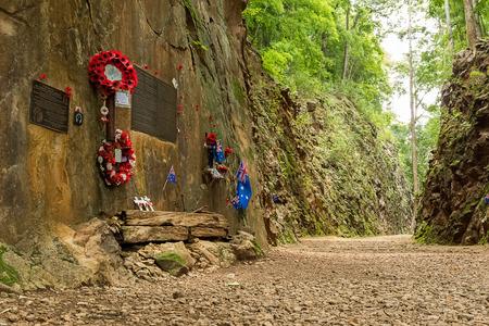 prisoners: Hellfire Pass at Kanchanaburi, Thailand. The steep rock wall was cut through by the World War II Prisoners hand.