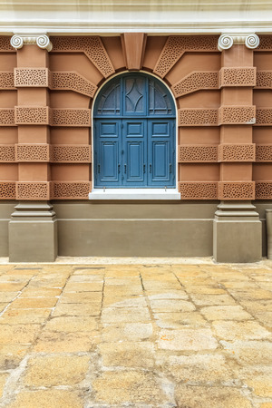 Arch Window in European Architecture style Building Stock Photo