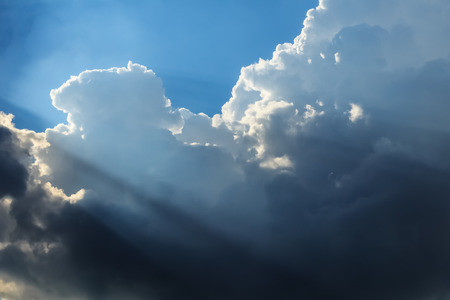 Dramatic Clouds and Sky with Sunbeam,Dramatic Cloudscape Stock Photo