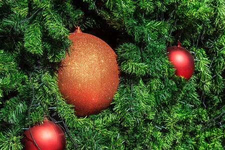 Glittering Christmas Ball Decoration, Closeup in selective focus with copyspace available