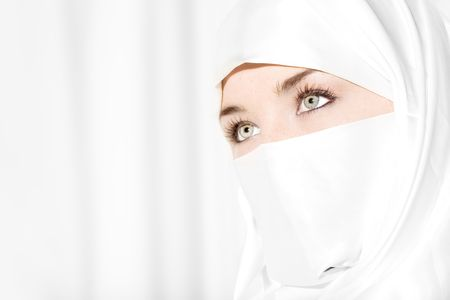 veil: Woman in white face veil Stock Photo