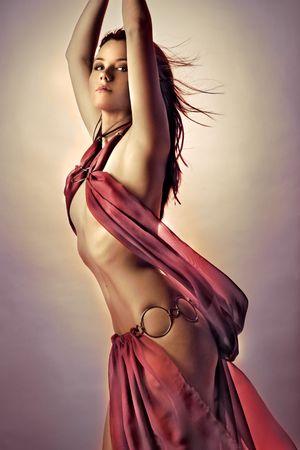 bailar�n: Fantas�a foto de modelo en traje ni�a de har�n  Foto de archivo