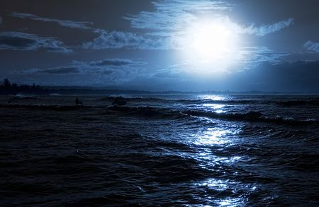Moon rise over calm ocean Stock Photo - 943723