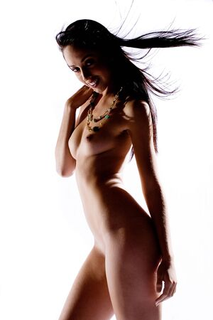 semi nude: Semi silhouette of nude model smiling on white background