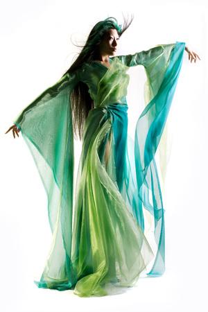 Chinese girl dressed in fantasy robe Stock Photo