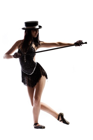 tap dance: Woman in black ballet shoes, cane, hat and costume isolated on white Stock Photo