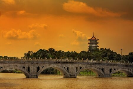 Pagoda of the Chinese gardens in Singapore Stock Photo - 1600401