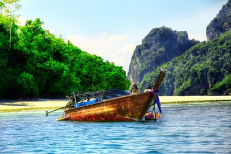 long tailed boat: Long tailed boat in Asian tropical paradise