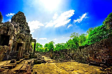 Ruins of Asian Buddhist temple in Cambodia photo