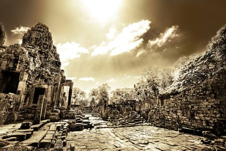 buddhist structures: Ruins of Asian Buddhist temple in Cambodia - monochrome