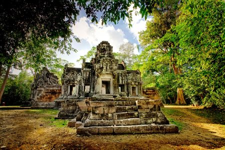 Cambodian temple ruins photo