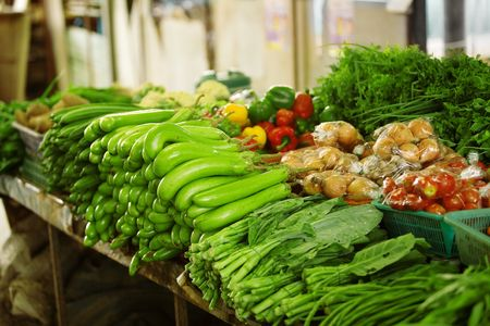 asian produce: Fresh produce at an outdoor Asian market Stock Photo