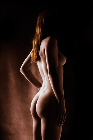 artistic nude: Selectively colored artistic nude of red head model Stock Photo