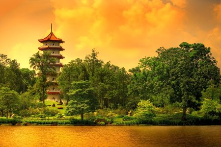 Pagoda of the Chinese gardens in Singapore LANG_EVOIMAGES