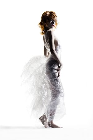 cling: Dress made out of cling wrap and cellophane