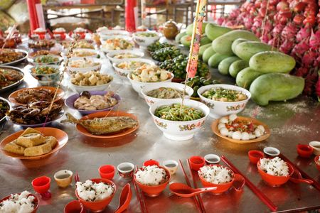 Chinese Buddhist Ceremony Offering Of Food To Buddha Stock Photo