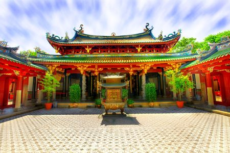 courtyard: Interior courtyard of Chinese Buddhist temple - vivid colors