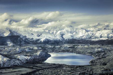 Desaturated artistic alipine scenic in New Zealand
