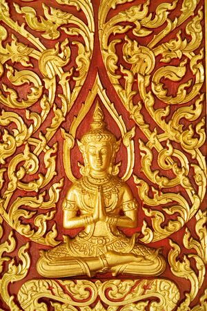 Buddhist decoration on a door in a temple Stock Photo - 3558033