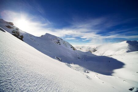Landscape of mountains with snow and deep blue sky Stock Photo - 3641351