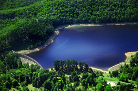Aerial photo of dam in between mountains Stock Photo - 3641739