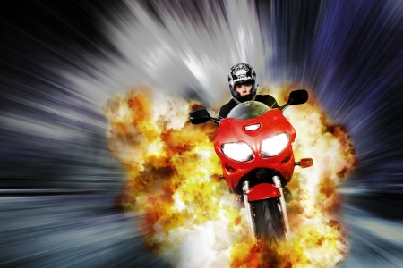 escapes: Hero on motorbike escapes explosion with blurred background, comic style edit