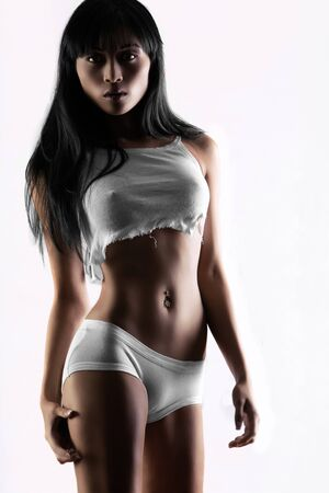 sexy asian woman: Asian fashion model in sexy underwear on white background