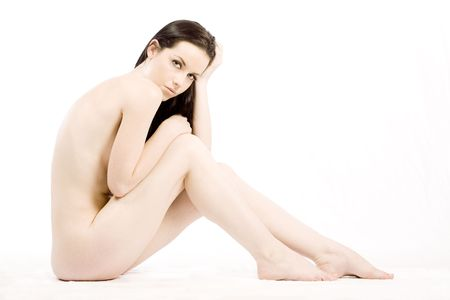 Brunette beauty nude on white studio background Stock Photo - 6469161