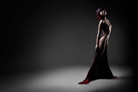 Estudio de moody iluminado planas desnuda