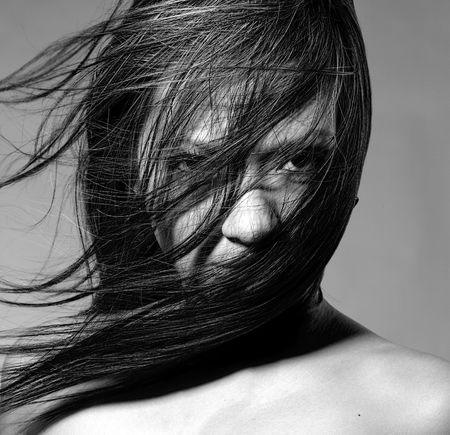 Nude beauty model in studio with hair blown by wind Stock Photo - 7034351