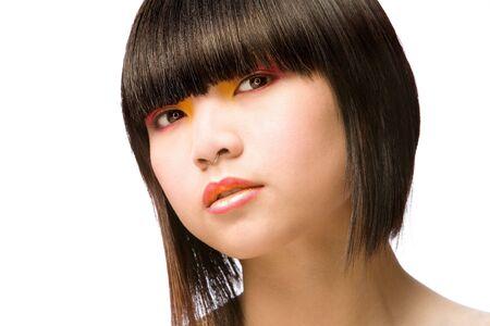 beauty shot: Beauty shot of Asian girl on white studio background