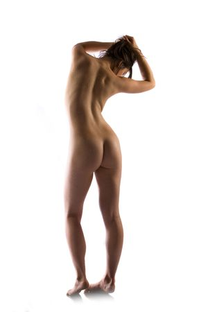 Water droplets on fit nude female body