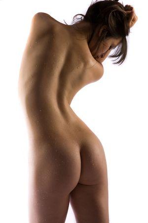 Gotas de agua en forma de cuerpo femenino desnudo