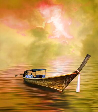 long tailed boat: Long tailed boat in golden Asian paradise