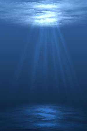 ray of light: Digital illustration of underwater setting with air bubbles