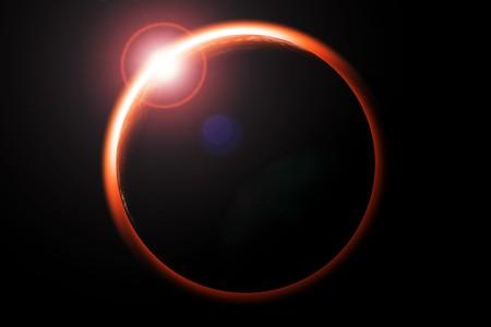 eclipse: Digital illustration of lunar eclipse red and black