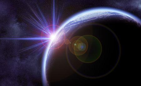 sci: Ilustraci�n digital de planeta brillante en el espacio con estrellas en segundo plano