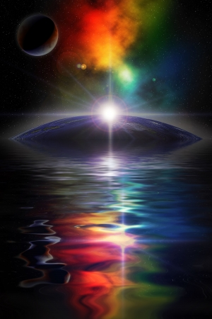 Digital illustration of deep space scene with planets and nebula, water in foreground