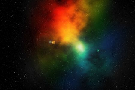 Digital illustration of deep space, colourful nebula
