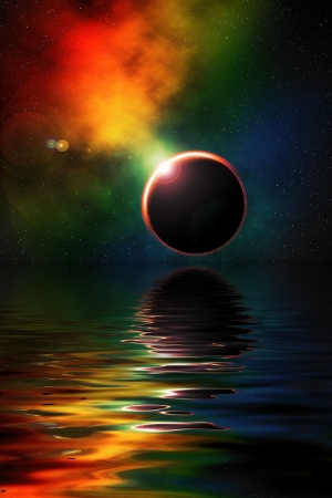 Digital illustration of deep space scene with eclipse and nebula, water in foreground illustration