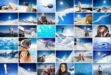 adventure holiday: Wall of screens showing winter, snow and ice themed images