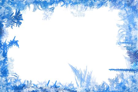 sopel lodu: Zimowe obramowanie ksztaÅ'tów ilustracji szronu i lodu z biaÅ'ym tÅ'em  Zdjęcie Seryjne