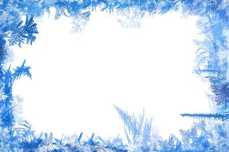 Zimowe obramowanie ksztaÅ'tów ilustracji szronu i lodu z biaÅ'ym tÅ'em  Zdjęcie Seryjne