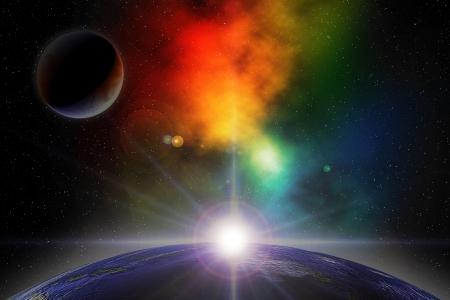 sci: Ilustraci�n digital de la escena de espacio profundo con planetas y nebulosa  Foto de archivo