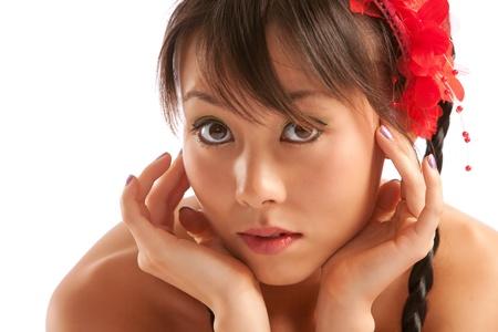 Beautiful fashion model on white studio background photo
